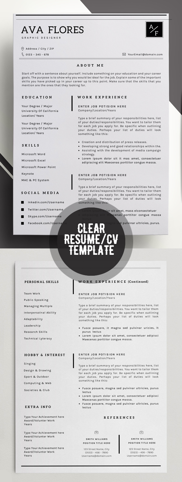 Clear Professional Resume Template