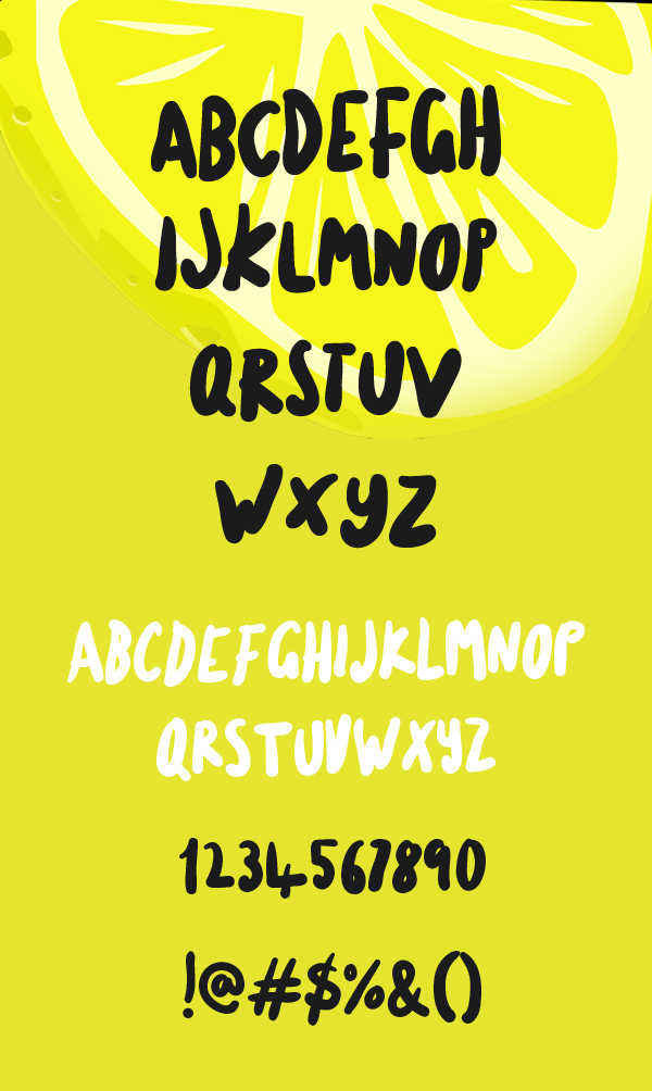 Lemon Bird fonts and letters