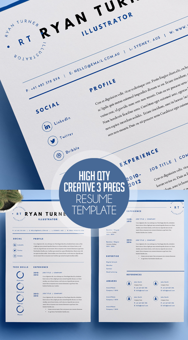 High Quality Creative Resume Template (3 Pages)