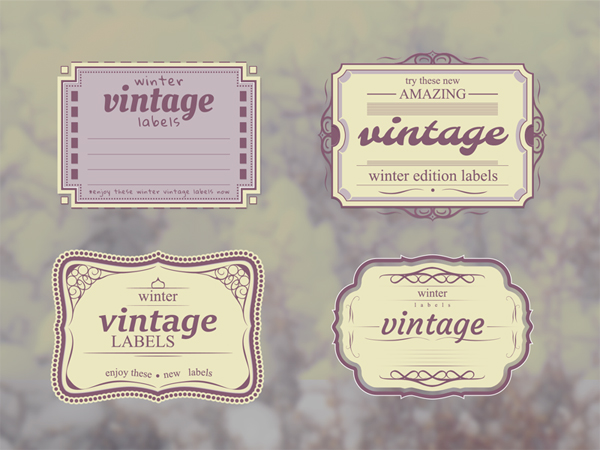 Free Vintage Winter Labels PSD