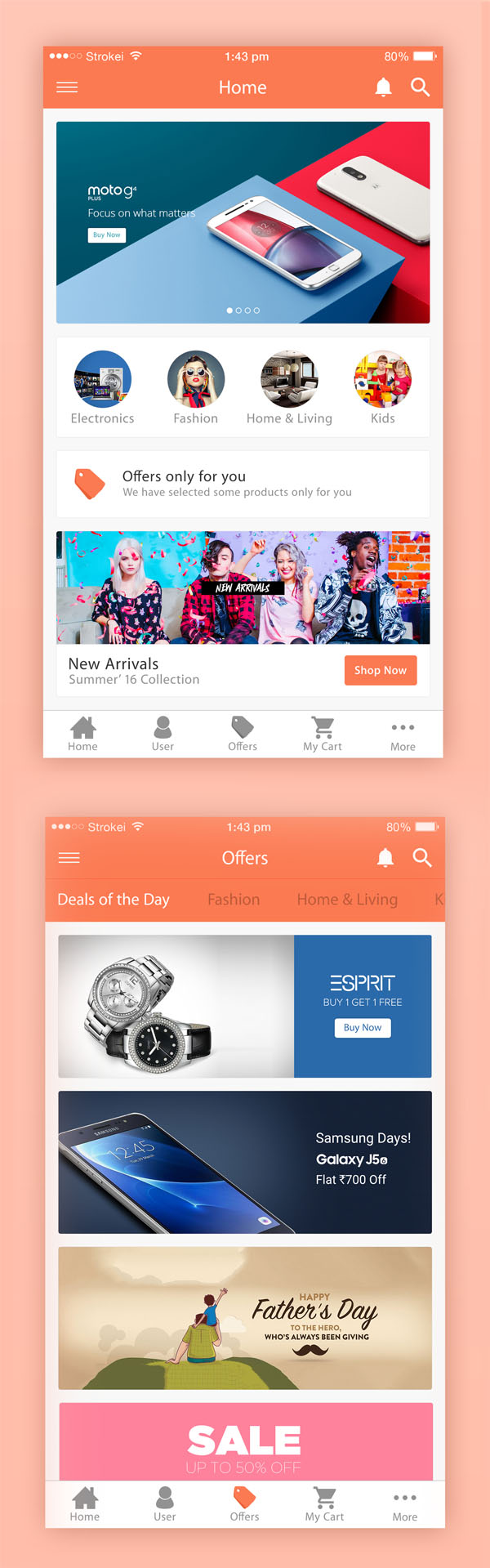 Free eCommerce iPhone 6 App PSD Templates