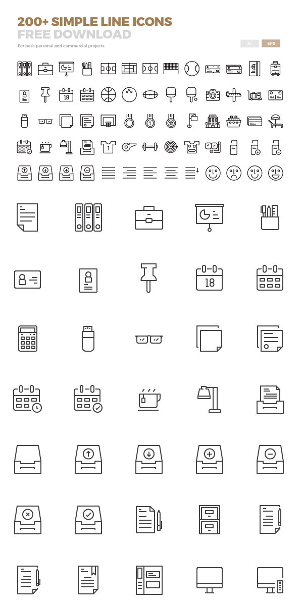 Free Line Icons Available in Ai and Eps (200 Icons)