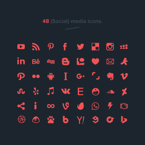 Free Vector Social Media Icons (48 Icons)
