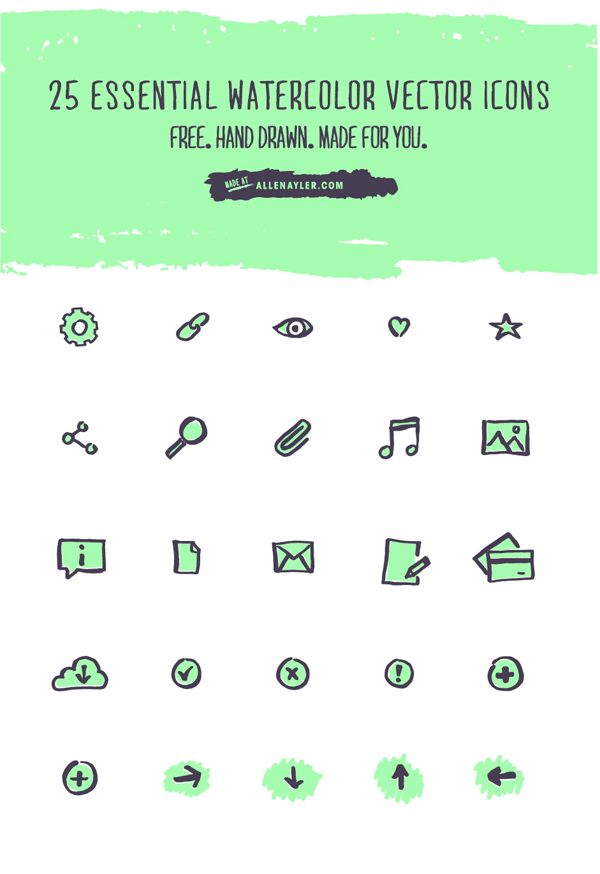 Free Watercolor Vector Icon Set