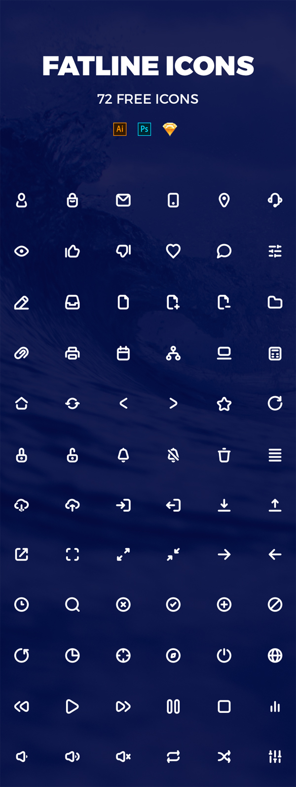 Pixel Perfect Fatline Free Icons (72 Icons)