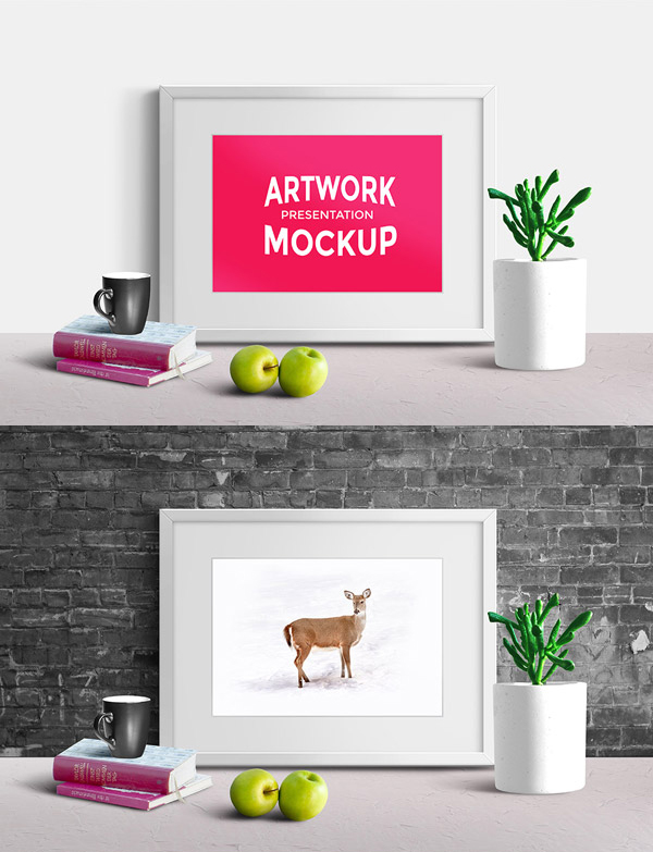 Free Artwork Presentation Scene Mockup