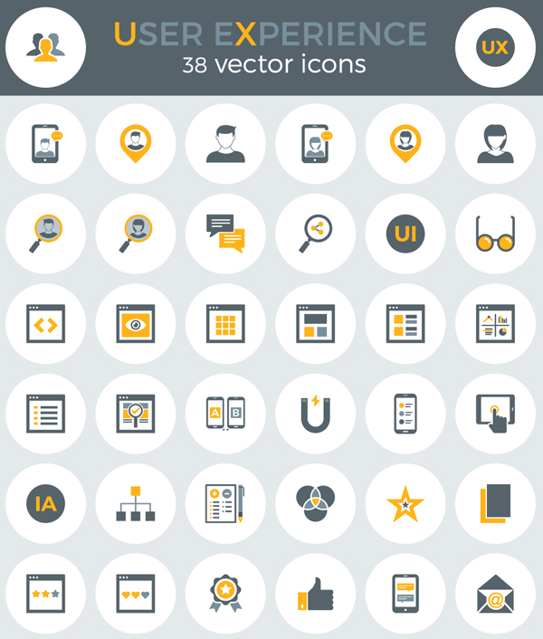 Free User Experience Icons (EPS, AI, PNG, SVG) (38 Icons)