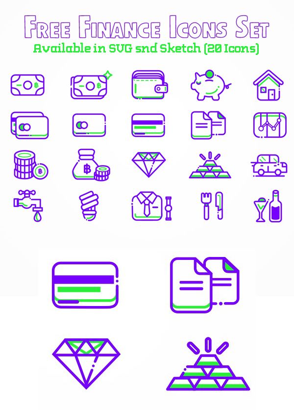 Free Finance Icons Set Available in SVG snd Sketch (20 Icons)