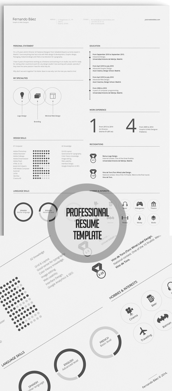 Free Minimalistic CV/Resume Templates with Cover Letter Template - 13