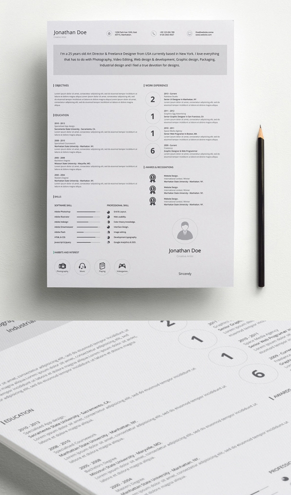 free minimalistic cv  resume templates with cover letter
