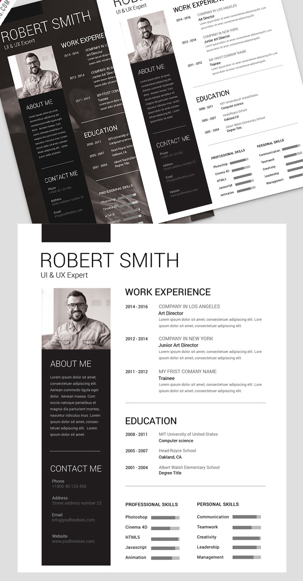 Free Minimalistic CV/Resume Templates with Cover Letter Template - 7
