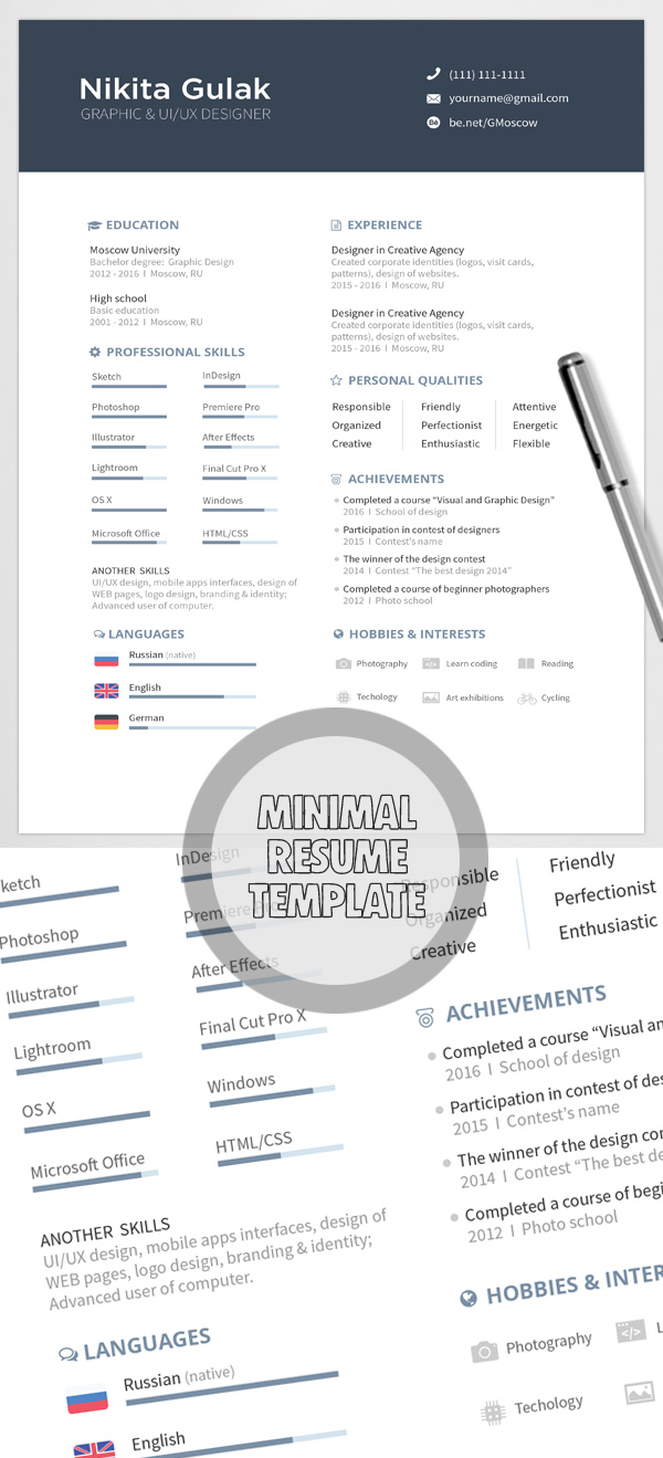free minimalistic cvresume templates with cover letter template 8 - Resume Templates For Graphic Designers