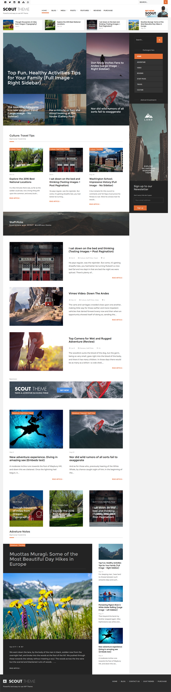 Scout - Adventure / Activity Blog WordPress Theme