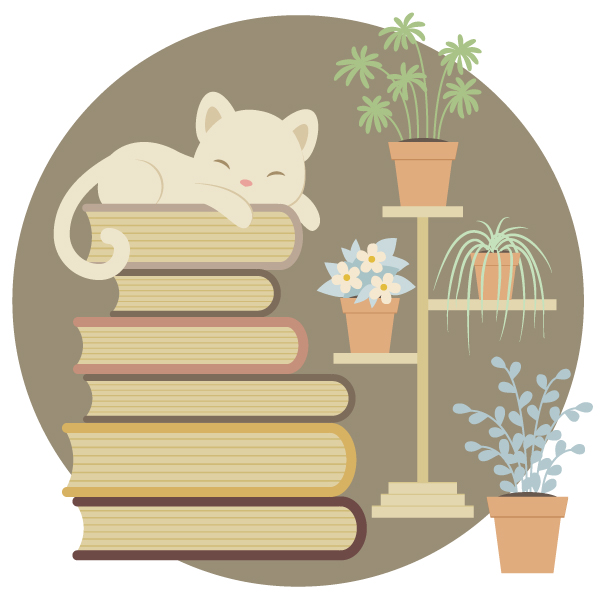 How to Create a Sleeping Cat on a Pile of Books and Indoor Plants in Adobe Illustrator