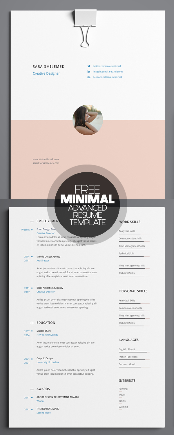 free minimal advanced resume template - Resume Templates For Graphic Designers