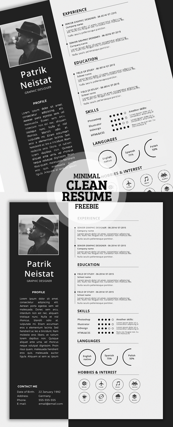 clean modern cv resume templates psd bies simple resume template