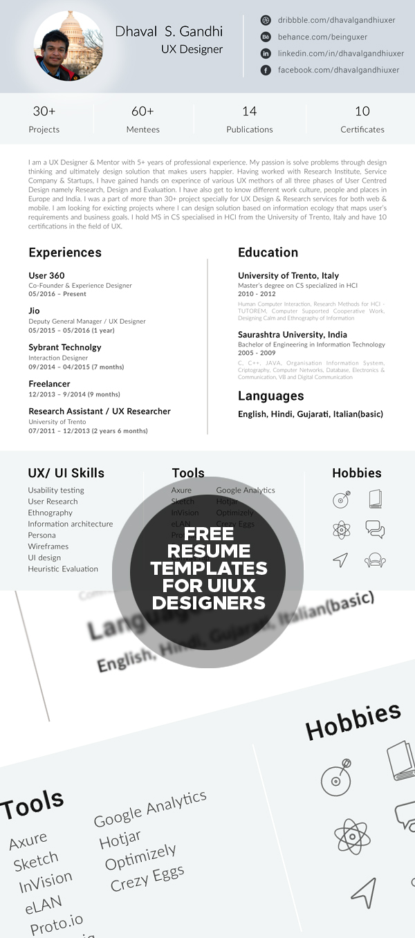 clean modern cv resume templates psd bies resume template for ui ux designers