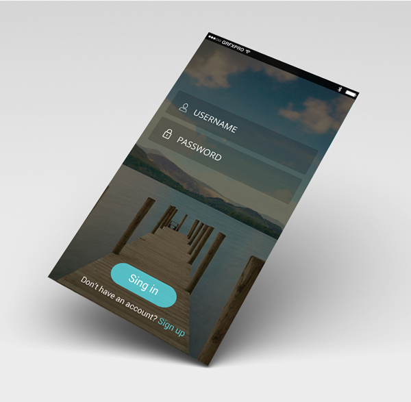 Free Perspective UI Login Screen PSD