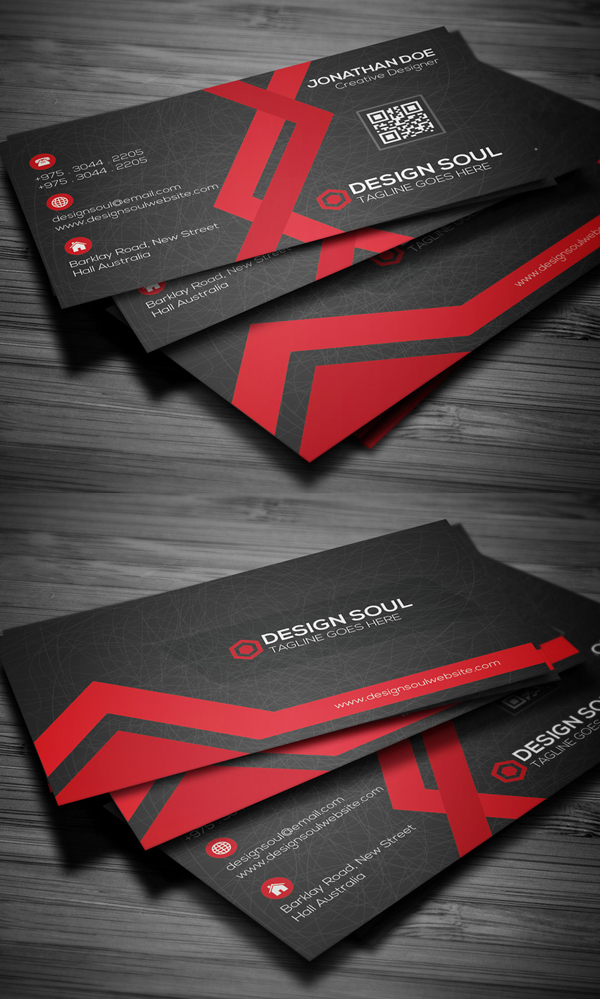 Red and Black Creative Business Card