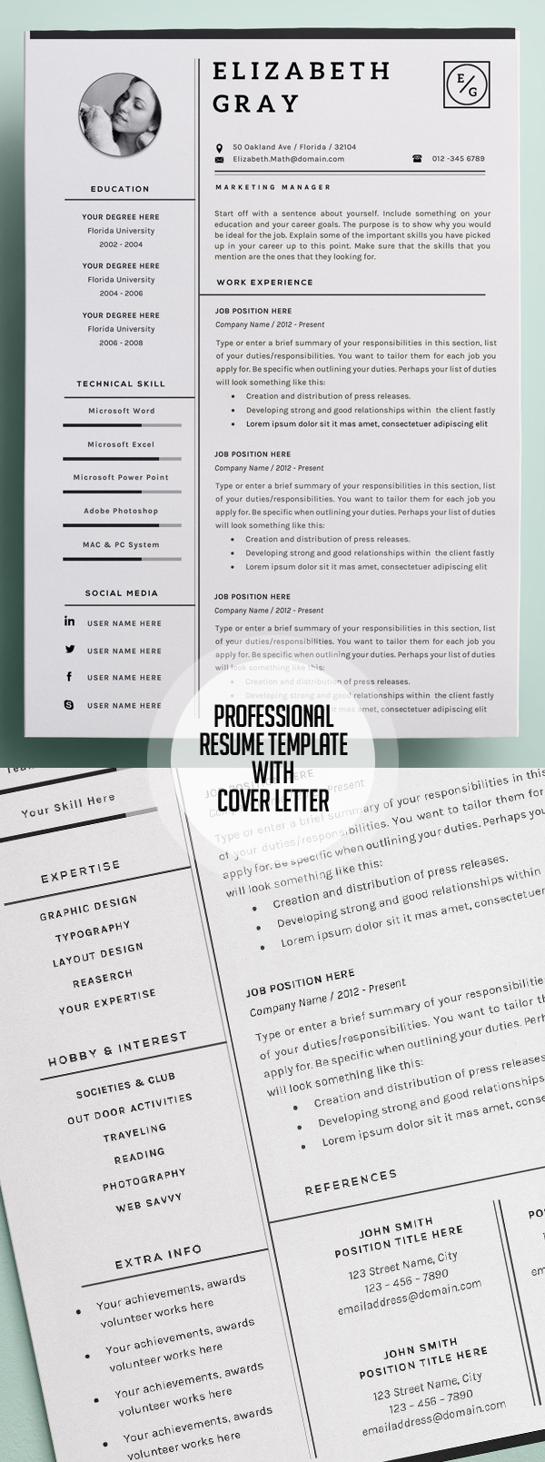 Professional and Modern Resume Template with Page Cover