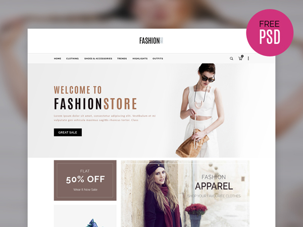Simple E-commerce Web Template Free PSD