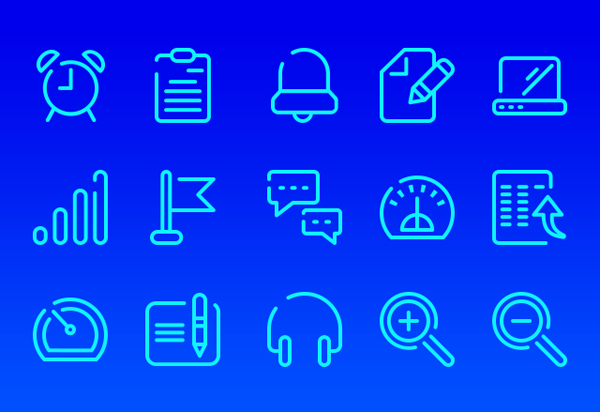Neon Blue UI Icons Free PSD
