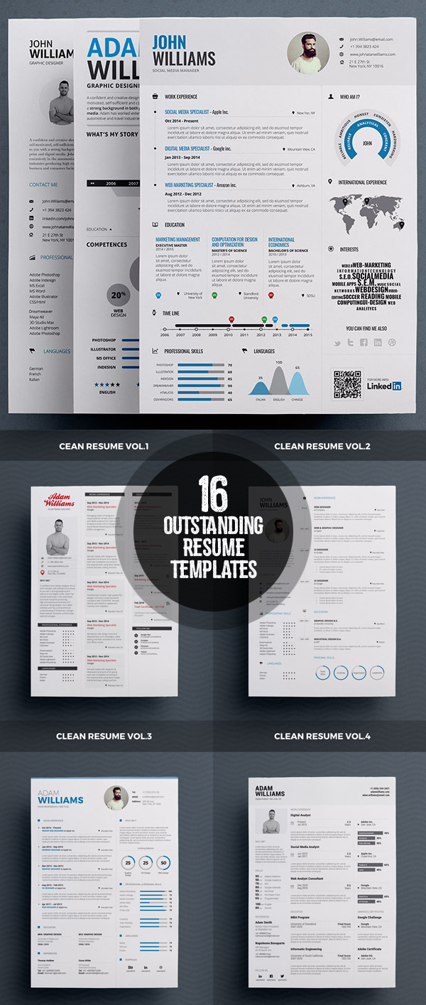 16 Outstanding and Stylish Resume Designs