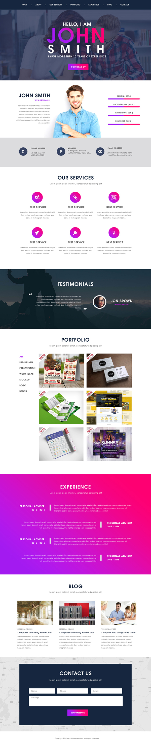 Free Creative One Page Portfolio Website Template PSD