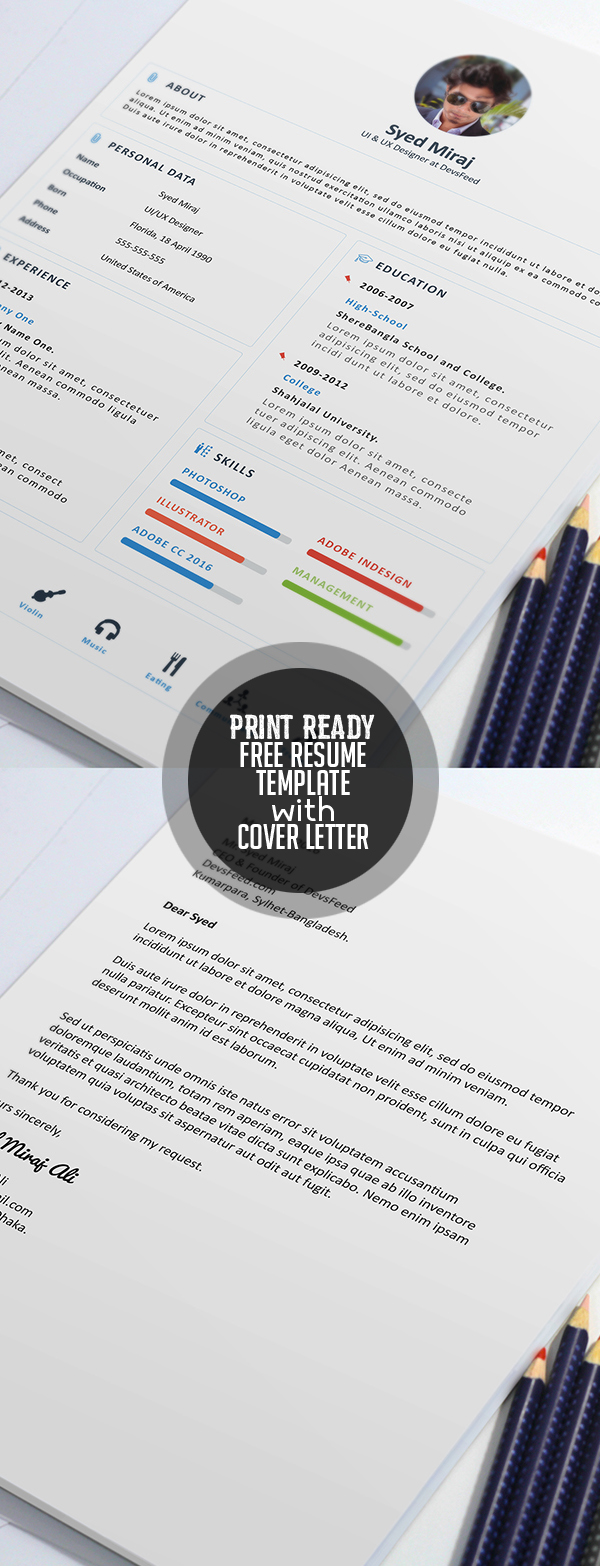 Free Print Ready Resume Template and Cover letter