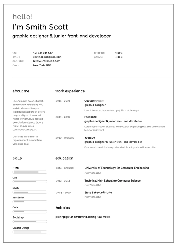 simple and clearn free resume template - Resume Templates For Graphic Designers