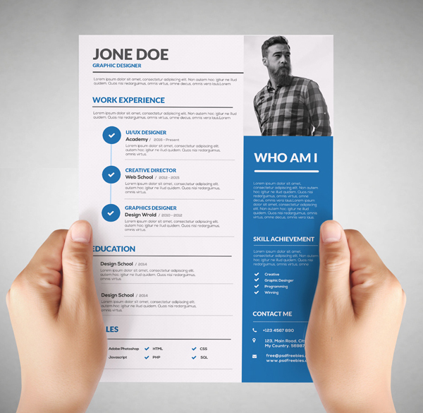 Free resume templates for 2017 freebies graphic design for Graphic designer resume template free download