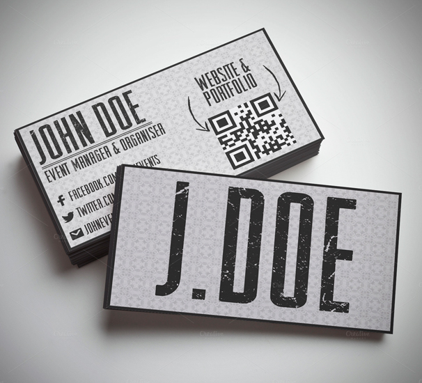 Grungy Typography Business Card PSD Template
