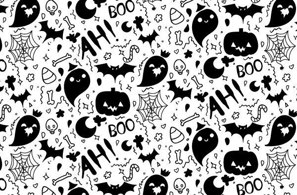 Boo-filled Hand Drawn Halloween Pattern Vector