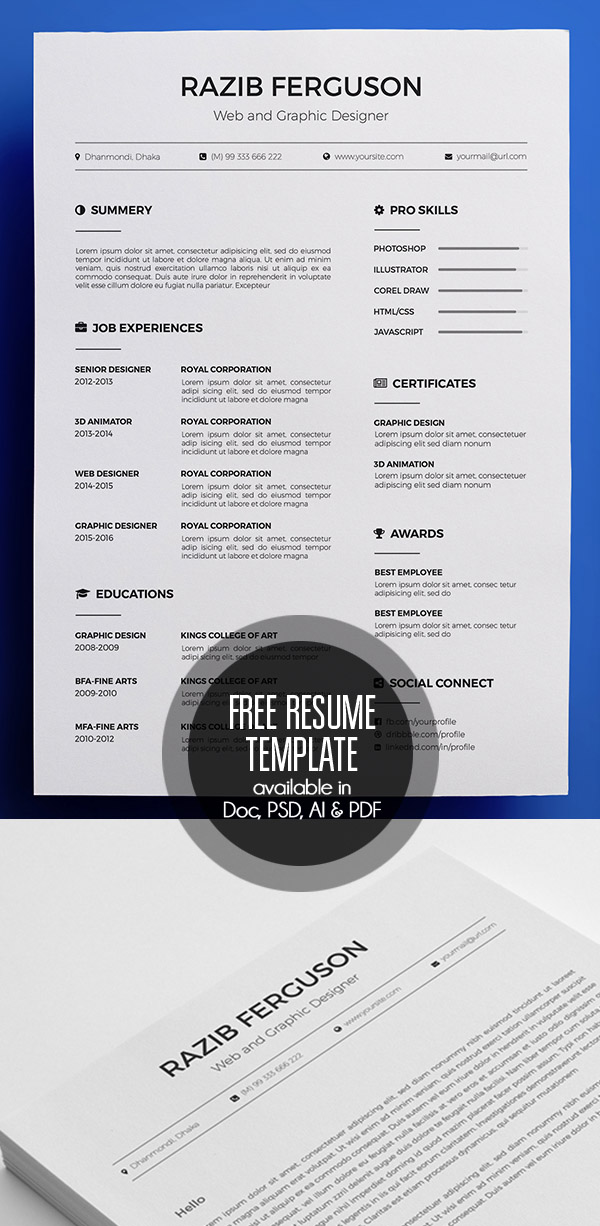 Free 1-page InDesign Resume Template, Designfreebies