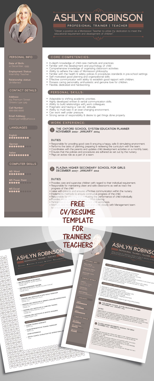 Free Resume - CV Design Template for Trainers & Teachers