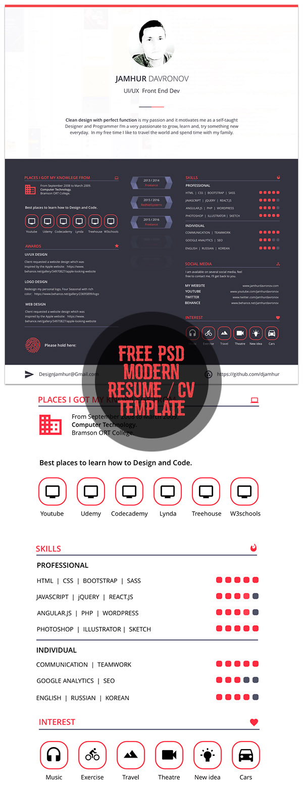 cv resume templates bies graphic design modern resume template