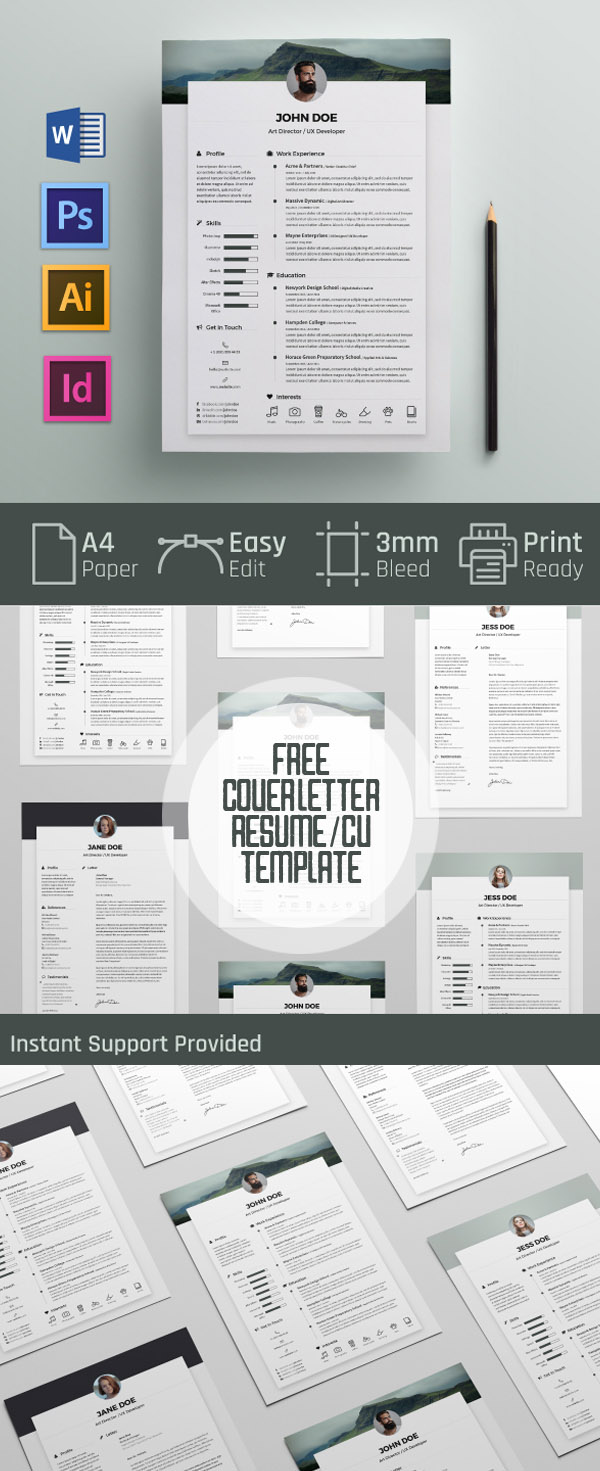 Free Cover letter and Resume / CV Template