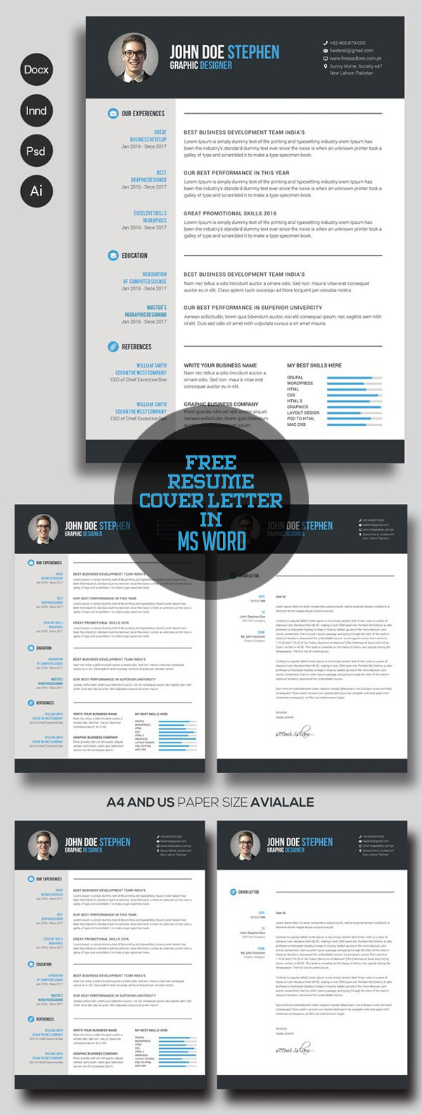 cv resume templates bies graphic design resume cover letter in ms word
