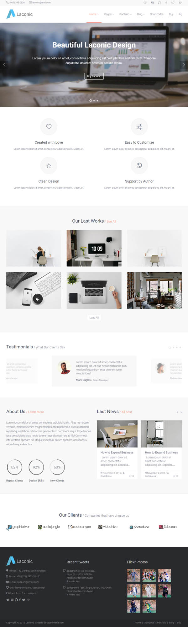 Laconic - Modern Business/Corporate WordPress Theme