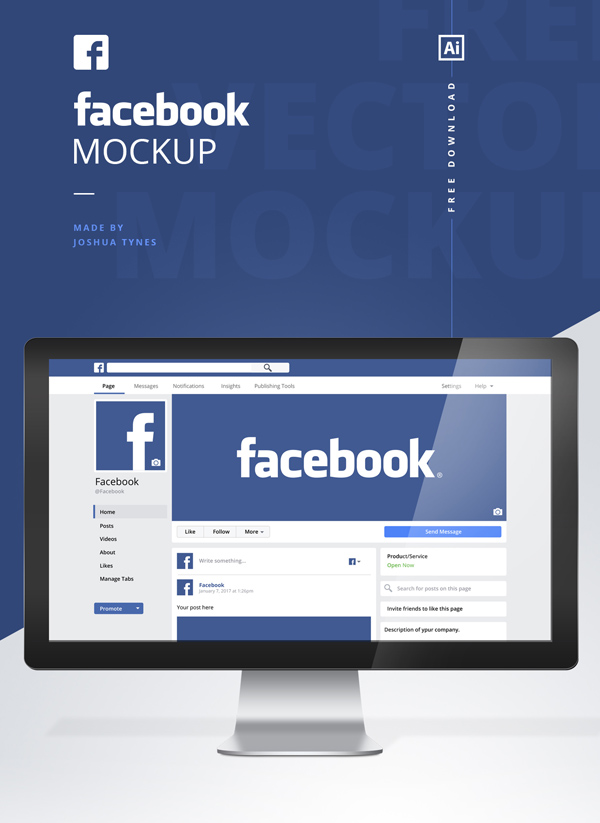 Free Facebook Mockup PSD Template