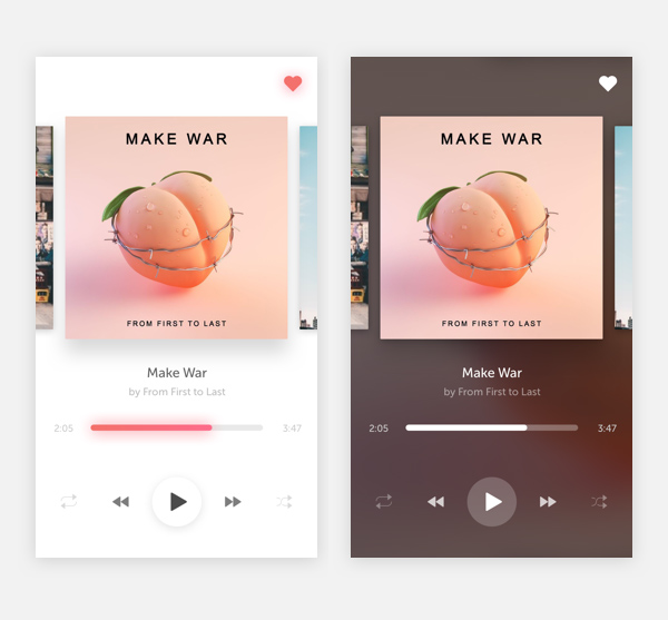 Free Music Player UI Template PSD