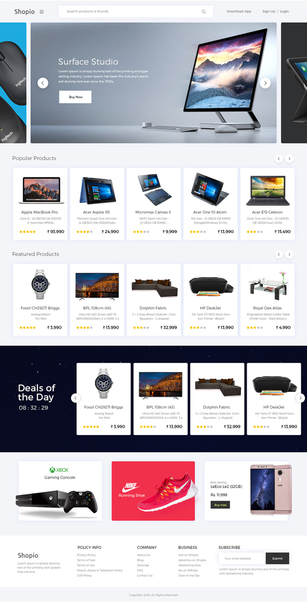 Shopio Free eCommerce Website Template