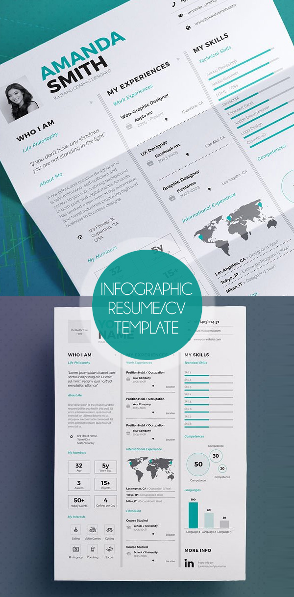 Infographic Resume/CV Template (A4 & US)