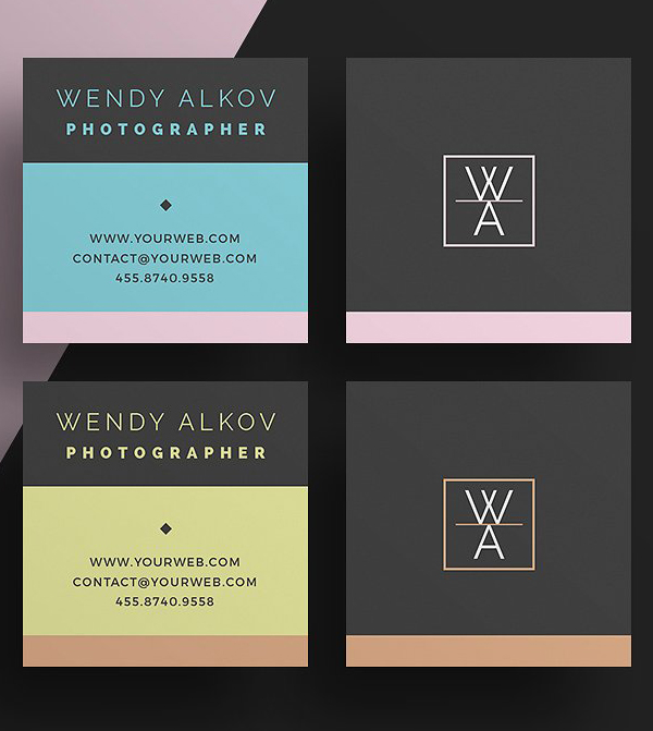 Square Stylish Business Card Template