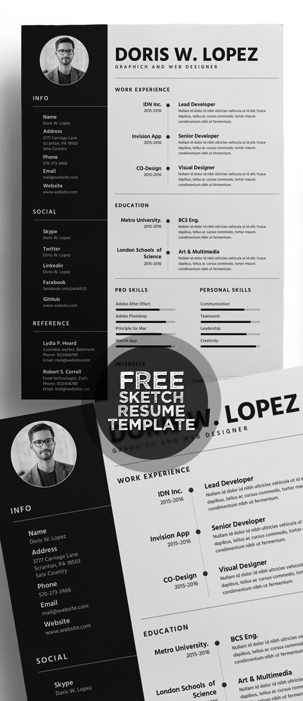 Free Sketch Resume Template for Designer & Developers