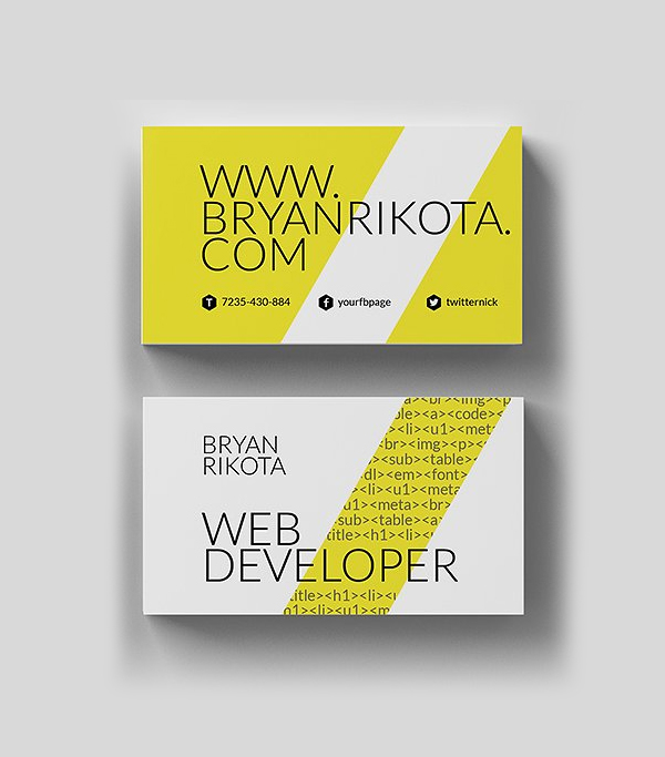 Minimal Web Developer Business Card Design