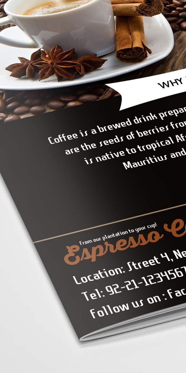 Freebie Coffee Shop BiFold Brochure Template