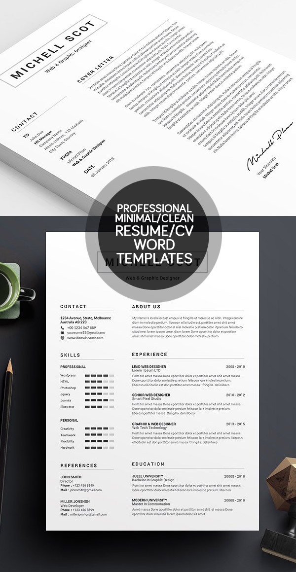 50 Best Minimal Resume Templates - 1