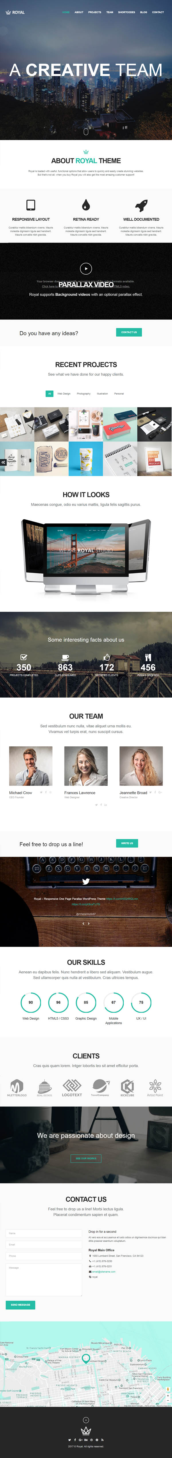 Royal : Responsive One Page Parallax WordPress Theme