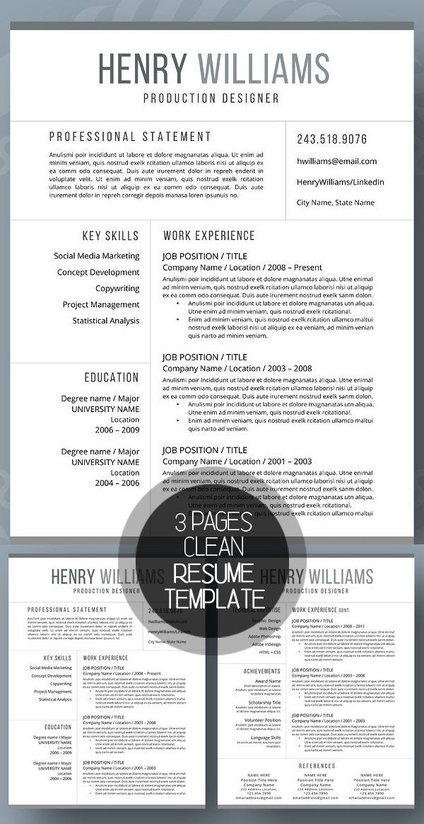 Professional Resume Template (3 Pages)
